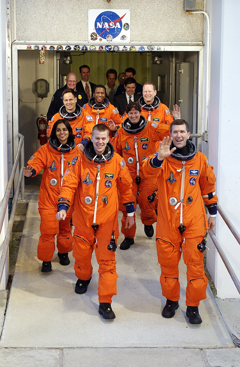 Crew walkout for STS107Credit; Scott Andrews/NASA