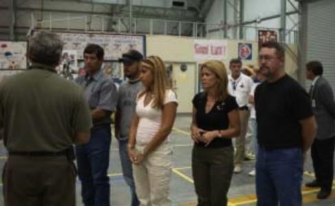 Gays visit reconstruction hangar